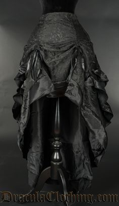 Black Brocade Layer Bustle Skirt - Front View -