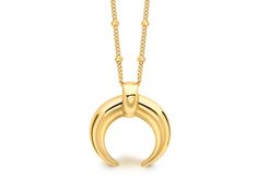 Missoma The large horn pendant necklace in 18ct gold vermeil features a long beaded chai