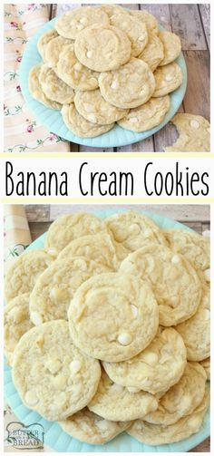 This Banana Cream Cookies recipe incorporates banana pudding mix a banana into delectable cookies Simple recipe for soft flavorful perfectly sweet cookies that everyone loves Easy pudding cookie recipe from Butter With A Side of Bread via ButterGirls Banana Cookie Recipe, Easy Cookie Recipes, Easy Desserts, Sweet Recipes, Delicious Desserts, Banana Pudding Cookies, Oatmeal Cookies, Banana Dessert Recipes, Cookie Flavors