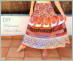 Liene Creations: DIY: Bohemian Maxi Skirt/ Falda Larga Bohemia