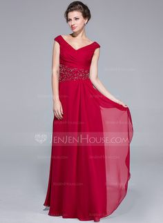 A-Line/Princess Off-the-Shoulder Floor-Length Chiffon Mother of the Bride Dress With Ruffle Beading Cascading Ruffles (008025701)