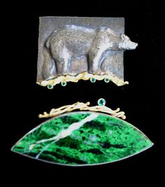 Linda Kindler Priest  ||  In the Forest the Black Bear Watches brooch in two parts  ||   Top: oxidized silver, 14K gold , 30 pt emeralds. Bottom: 14K, 21pt emeralds, mau sit sit, oxidized silver  $3,600.00