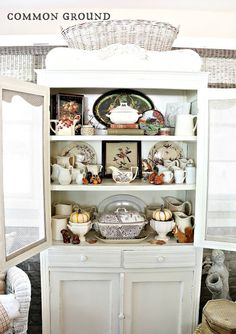 common ground : Styling the Pie Safe for Fall Dish Cabinet, Cabinet Decor, Cupboard, Seasonal Decor, Fall Decor, Kitchen Sitting Areas, Pie Safe, Common Ground, Formal Living Rooms