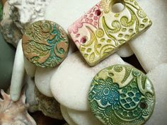 air dry clay jewelry | these have been stamped and painted with acrylics and distressed. the ...