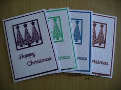 Set of 4 Christmas Tree, Happy Christmas Cards Christmas Tree Cards, Cellophane Bags, White Envelopes, Hand Stamped, Card Making, Messages, Crafty, Creative, Happy
