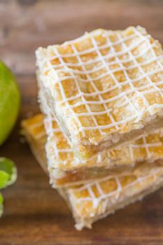 Iced Apple Pie Bars - Perfectly spiced squares of apple pie with crisscross icing on top! March 2018 (used 8 cups apples sliced thin with 2 tsp cinnamon and dash of nutmeg and ginger instead of apple pie spice) Apple Dessert Recipes, Pumpkin Dessert, Pie Dessert, Cookie Desserts, Apple Recipes, Easy Desserts, Baking Recipes, Delicious Desserts, Yummy Food