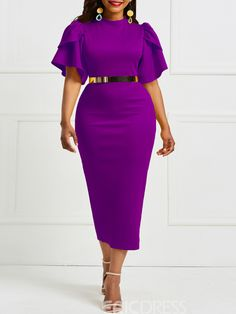 African Fashion Falbala Pure Color Knee-Length Bodycon Dress without Belt African Lace Dresses, Latest African Fashion Dresses, Ankara Fashion, Slim Fit Dresses, Short Dresses, Dresses Dresses, Summer Dresses, Formal Dresses, Wedding Dresses
