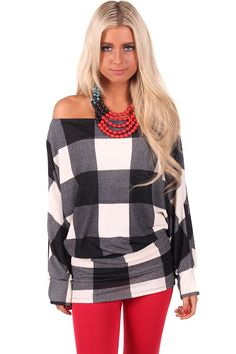 Lime Lush Boutique - Black and White Plaid Tunic Top or Dress, $42.99 (http://www.limelush.com/black-and-white-plaid-tunic-top-or-dress/)