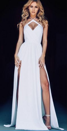 Lovely Prom Gown Sexy White Prom Dresses Long
