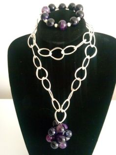 Tear-drop Silver-plated purple Agate Necklace and bracelet - The Supermums Craft Fair