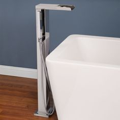 Thermostatic Waterfall Freestanding Bath Filler with Brass Hand Shower - Freestanding Tub Fillers - Tub Faucets - Bathroom