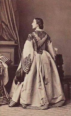 1860's Two-piece dress with lavish trim, a truly magnificent ensemble ; CDV