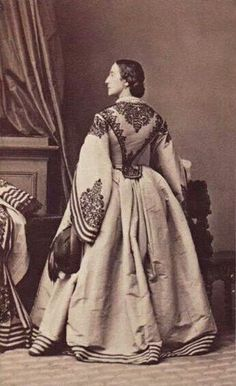 1860's Two-piece dress with lavish trim, a truly magnificent ensemble ; CDV