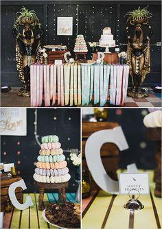 rainbow streamer drapped cake table #weddingdesign #rainbowwedding #caketable