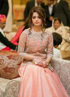 Beutifull wedding party dress in baby pink color work embellished with nagh dabka zari pearls and crystals work.(Please Ask Us Your exact Dresses are Manufactured designs/Cutting/stitchi Indian Wedding Party Dresses, Pink Wedding Dresses, Indian Bridal Wear, Pakistani Wedding Dresses, Formal Dresses For Weddings, Party Wedding, Pakistani Party Hairstyle, Bridal Hair Buns, Shadi Dresses