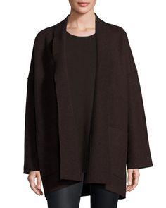 Boiled Wool Kimono Jacket, Poppy