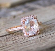 Etsy #studio1040 - Cushion White Sapphire Diamond Halo in Rose Gold (really, all of these)