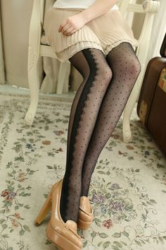 3d94bd58d64f9 Lace Embellished Dot Tights - OASAP.com Hipster Pants, Black Stockings,  Silk Stockings