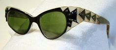 Vtg Mid Century Swank France Cat Eye Sunglasses Feather Detail AB Rhinestones | eBay