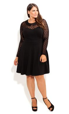 City Chic - SPOT MESH SKATER DRESS - Women's plus size fashion