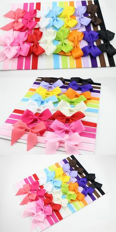 Retail 6pcs/lot infant Baby hairbow Large Bows Headband for Baby girl Hair Accessories elastic headbands Toddler hairbands
