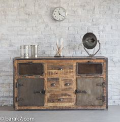 Industrial Furniture - Industrial sideboard with doors and antique finish | BARAK'7