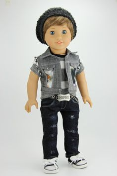 Handmade 18 inch Boy gray and black outfit by DolliciousClothes