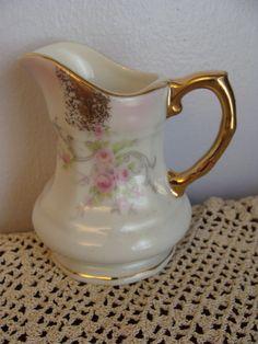 Vintage Lenox Pitcher   ... Pitcher 1937 Pink Roses and gold trim - Vintage Porcelain Lefton