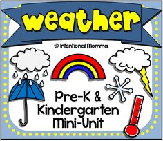 Weather mini-unit for spring! Pre-K and Kindergarten printable worksheets. Tracing, coloring, counting, matching, and more!
