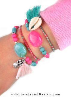 Zelf Een Zomers Armbanden Setje Maken - Roze Met Turkoois