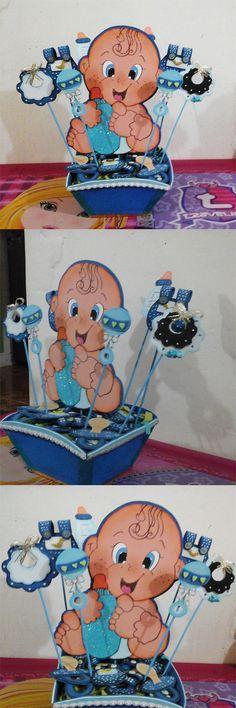 Centro de mesa para BABY SHOWER Moldes Para Baby Shower, Mesas Para Baby Shower, Baby Party, Baby Shower Parties, Baby Boy Shower, Baby Shower Centerpieces, Baby Shower Decorations, Bebe Shower, Baby Boy Christening