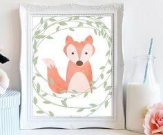 PRINTABLE fox nursery art fox printable decor by luxeprairie