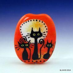 """THE BOO CREW"" byKAYO a Handmade HALLOWEEN CAT Lampwork Art Glass Focal Bead SRA #Lampwork"