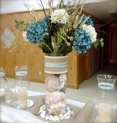 Lovely centerpiece at a Beach Wedding Shower Party!  See more party ideas at CatchMyParty.com!