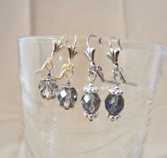 Blue/Silver Faceted Glass Bead Leverback Dangle by Pizzelwaddels, $9.97