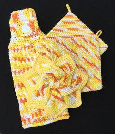 Crochet 4 Piece Kitchen Gift Set, Star Flower Pot Holders Hand Towel, Housewarming, Hot Pads, Handmade, Yellow, Orange, White, FREE SHIPPING by HaniasCreations on Etsy