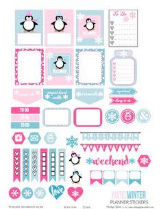 Pastel Winter Planner Stickers - Free Printable