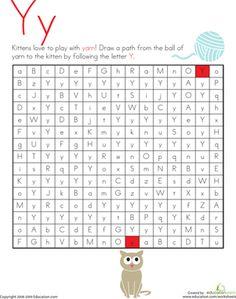 Kindergarten Mazes The Alphabet Worksheets: Letter Maze: Y Reading Worksheets, Alphabet Worksheets, Alphabet Activities, Mazes For Kids Printable, Letter Maze, Bee Book, School Information, Learning The Alphabet, Alphabet Book