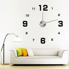 Adhesive 3D Large Digital Frameless Sticker DIY Wall Clock Room Home Decoration