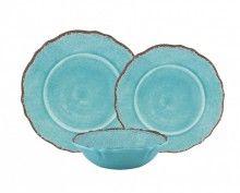 Le Cadeaux12PC Antiqua Turquoise Melamine Dinnerware Set for Four