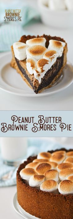no bake desserts recipes, filipino dessert recipe, low fat dessert recipe - Peanut Butter S'mores Pie -- this is actually a really easy recipe! Dessert Drinks, Pie Dessert, Easy Desserts, Delicious Desserts, Dessert Recipes, Yummy Food, Peanut Butter Brownies, Peanut Butter Recipes, Tart Recipes