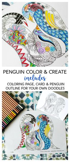 Penguin Color And Create Free Coloring Page
