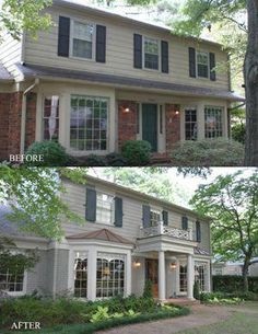 Colonial exterior remodel before and after curb appeal 33 best Ideas Colonial House Exteriors, Painted Brick Exteriors, Colonial Exterior, House Paint Exterior, Exterior House Colors, Painted Bricks, Colonial House Remodel, House Siding, Exterior Siding