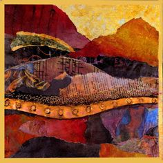 """Singing Hills"" mixed media collage landscape by Carol Nelson     detail   This is a demo painting I started in my recent workshop at Camp..."