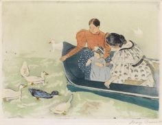 "MARY CASSATT  (1844-1926.)  Feeding the Ducks. "" Circa 1894.  Color aquatint and soft-ground etching with drypoint on cream laid paper.   295x393 mm; 11 5/8x15 1/2 inches, wide margins.  Third state (of 3).  Edition of approximately only 25.  Signed in pencil, lower right.  A very good impression of this extremely scarce, important color print.""  Offered at auction by Swann. Caption from Swann website."