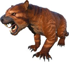 The Thylacoleo is a large, powerful mount that can climb up trees and pounce on its enemies. Prehistoric World, Prehistoric Creatures, Evolve Wallpapers, Dinosaur Images, Creature Drawings, Creature Concept, Prehistory, Monster Hunter, Beautiful Creatures