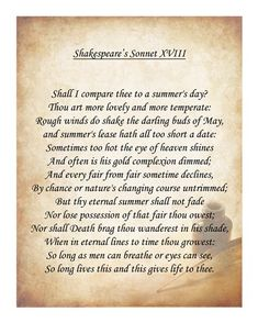 Shop for framed Shakespeare's Sonnet 18 by Unknown. Famous Shakespeare Quotes, Shakespeare Sonnets, William Shakespeare, Top Love Quotes, Famous Love Quotes, Darling Buds Of May, Zindagi Quotes, Sweet Quotes, You Are My Sunshine