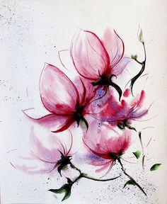 Magnolia flowers original watercolor painting