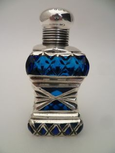 Stunning Antique Petrol Blue Glass Solid Silver Top Perfume  Bottle 1900