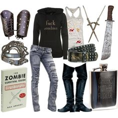 my style just in case of a zombie apocalypse Zombie Apocalypse Outfit, Zombie Apocalypse Survival, Zombie Apocolypse, Zombie Gear, Zombie Clothes, Nerd Clothes, Zombie Hunter, Hunter Outfit, Apocalyptic Fashion